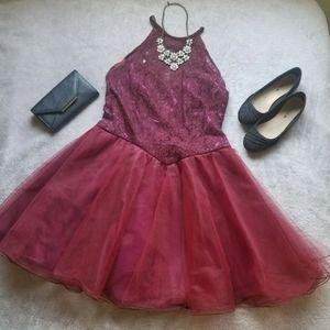 Burgundy Lace Tulle Skirt Dress